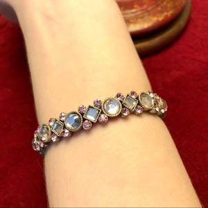 Pink and silver crystal bracelet